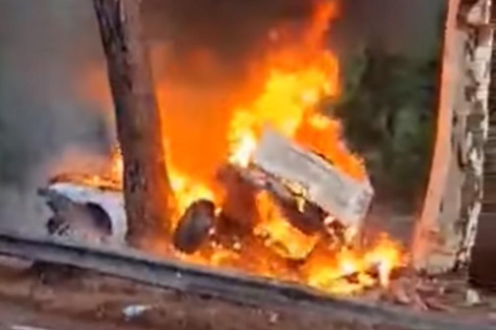Três mortos em despiste seguido de incêndio de veículo no Montijo [vídeo]